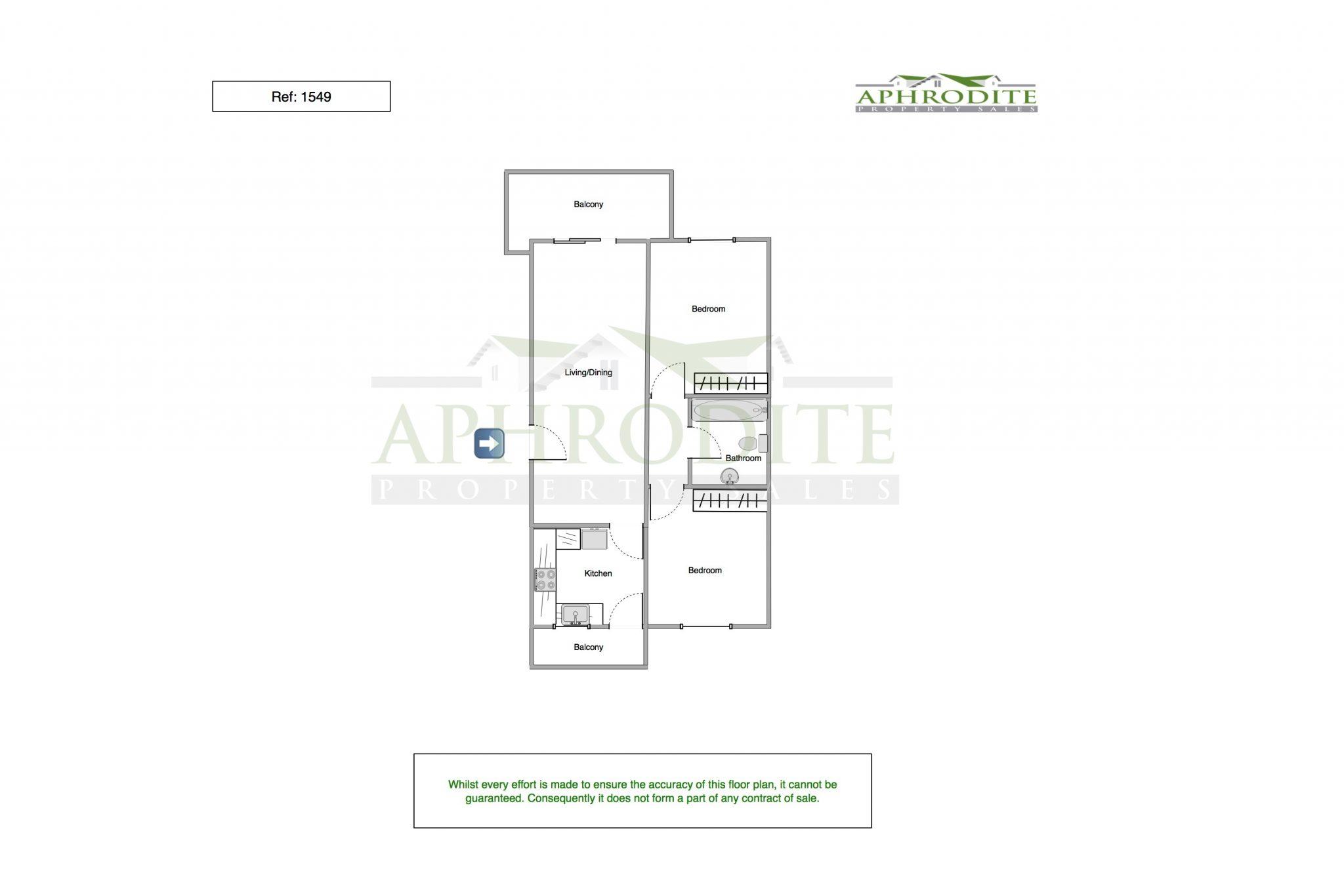 1549 - 2 Bedroom Apartment - Mandria floorplan